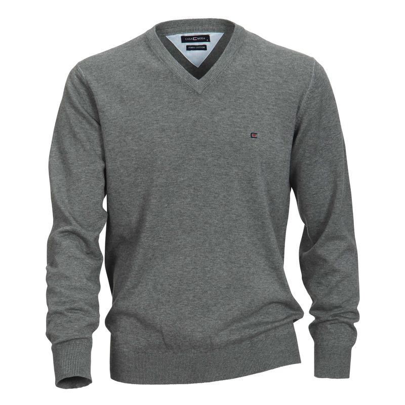 pull matteo gris grande taille homme jersey casamoda pas cher. Black Bedroom Furniture Sets. Home Design Ideas