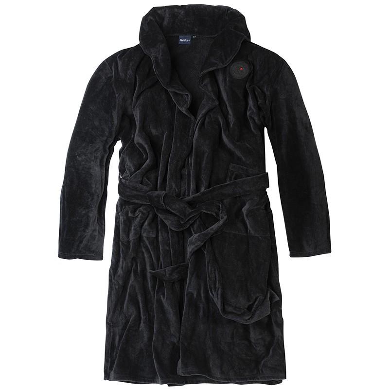 peignoir cyril noir grande taille homme allsize coton qualit douce. Black Bedroom Furniture Sets. Home Design Ideas