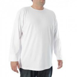 f53e8452c5 Tee-shirt blanc grande taille homme manches longues Allsize coton CHAUD