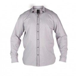 Chemise ABSOLUTE blanche fines rayures grises manches longues by Duke