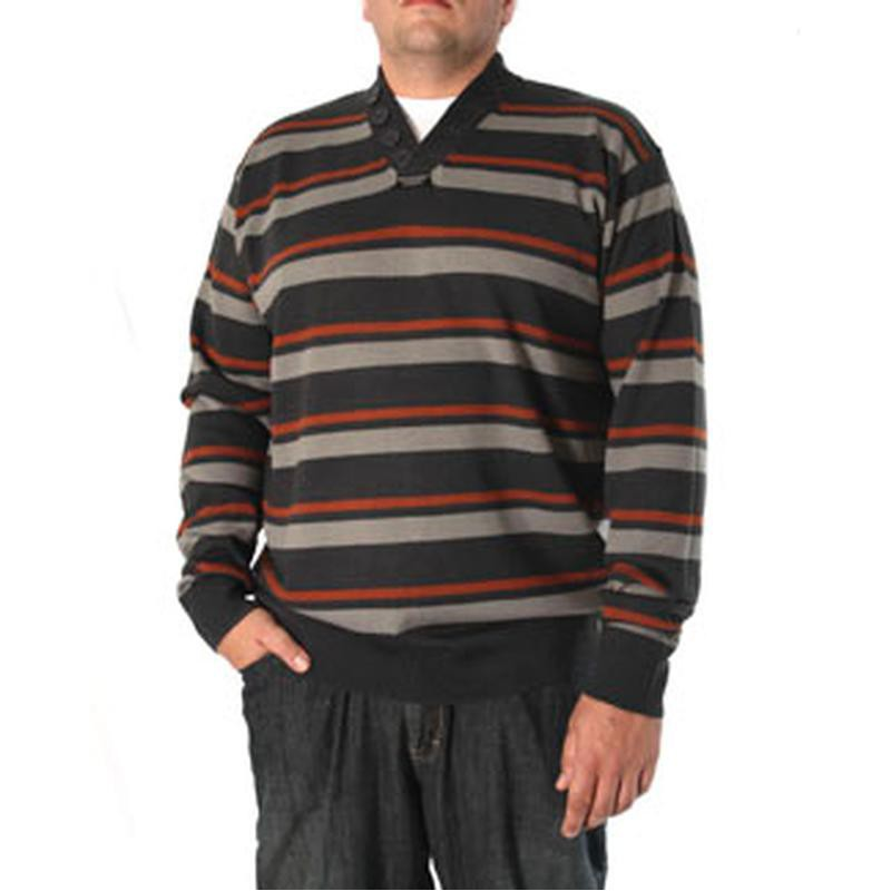 Pull CAMERON rayé bleu foncé avec boutons grande taille homme by Duke.  Loading zoom f8bc83be28b7