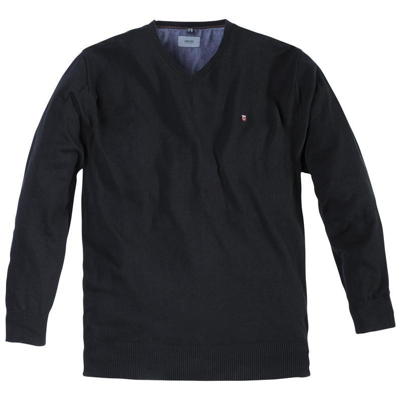 pull greyes noir grande taille homme jersey allsize. Black Bedroom Furniture Sets. Home Design Ideas